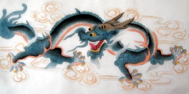 Китайский дракон, роспись по шелку.